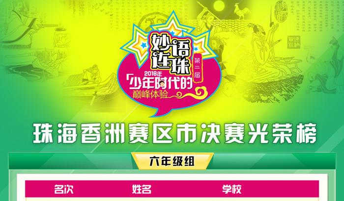 【珠海香洲赛区】第二届妙语连珠成语大赛市决赛光荣榜