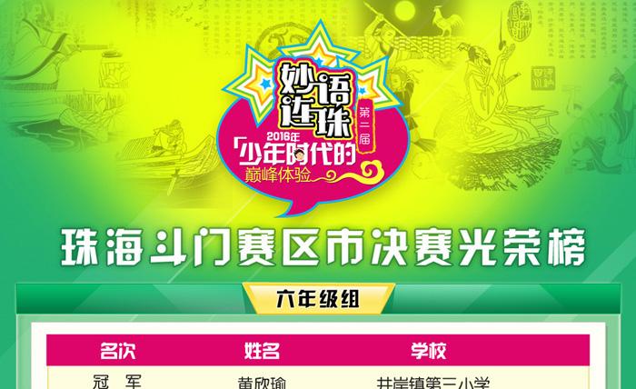 【珠海斗门赛区】第二届妙语连珠成语大赛市决赛光荣榜
