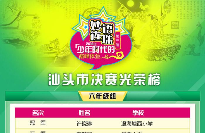 第二届妙语连珠成语大赛汕头市决赛光荣榜